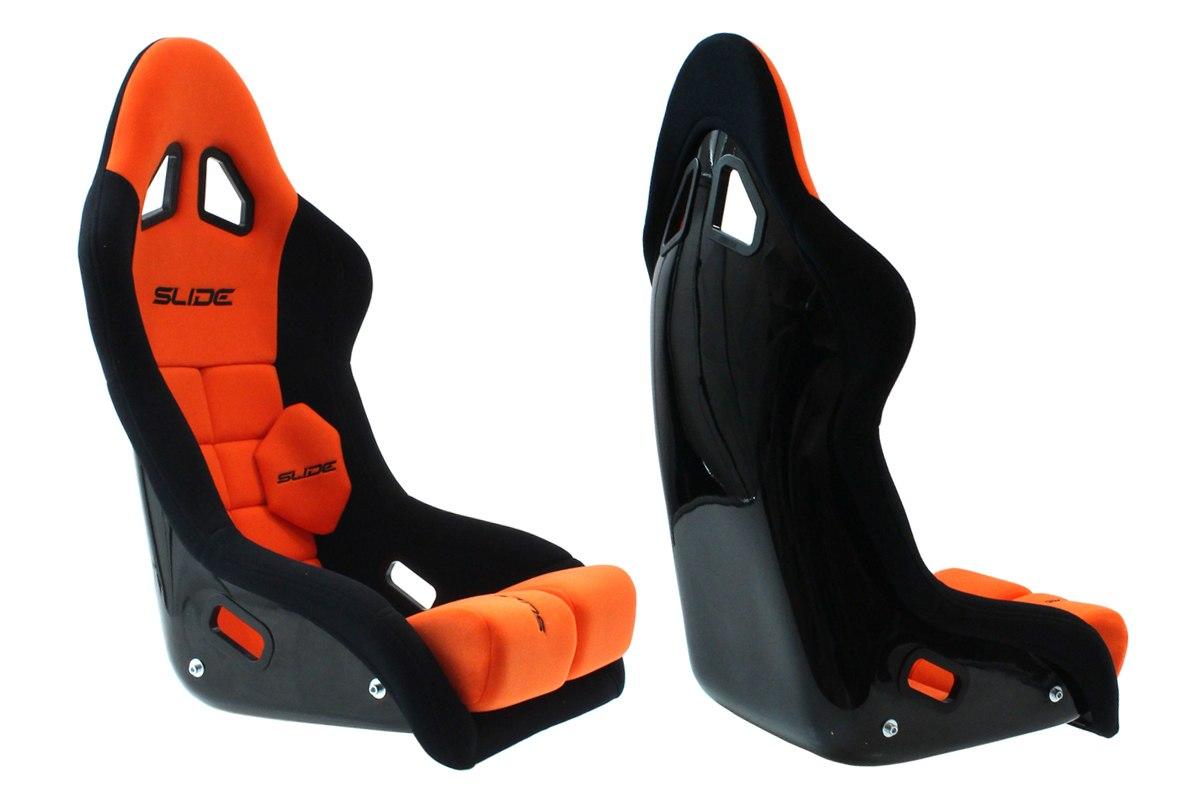 Fotel sportowy SLIDE GT FIA Zamsz Pomarańczowy - GRUBYGARAGE - Sklep Tuningowy